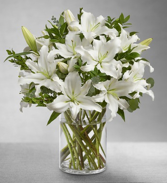 All White Lily Bouquet - Click Image to Close