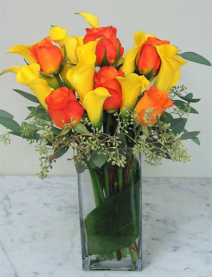 Roses And Mini Callas Bouquet - Click Image to Close
