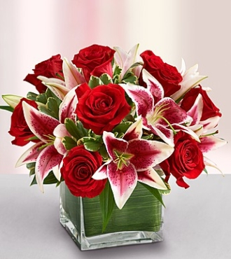 Modern Embrace Red Roses and Lily Bouquet - Click Image to Close