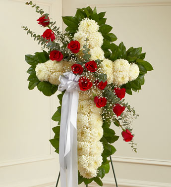 Red and White Sympathy Standing Cross - Click Image to Close