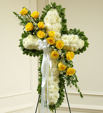 Yellow Sympathy Standing Cross - Click Image to Close