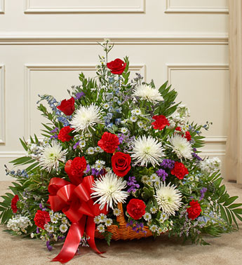 Red, White and Blue Sympathy Fireside Basket - Click Image to Close