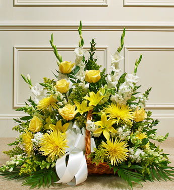 Yellow Sympathy Fireside Basket - Click Image to Close