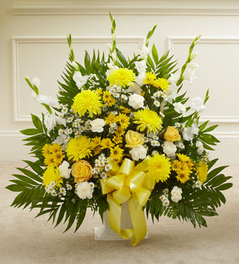 Yellow Sympathy Floor Basket - Click Image to Close