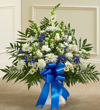 Blue & White Sympathy Floor Basket - Click Image to Close