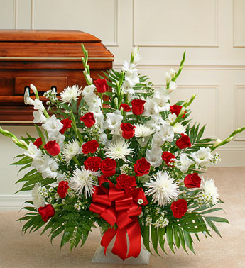 Red and White Sympathy Floor Basket - Click Image to Close