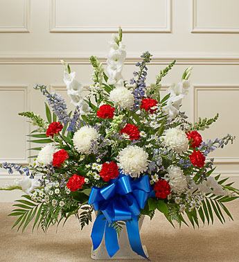 Red, white and Blue Sympathy Floor Basket - Click Image to Close