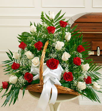 Red and White Roses Sympathy Fireside Basket - Click Image to Close