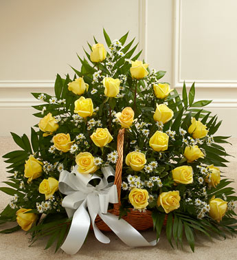 Yellow Roses Sympathy Fireside Basket - Click Image to Close