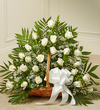 White Rose Sympathy Fireside Basket - Click Image to Close