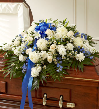 Blue and White Half Casket Cover - Click Image to Close