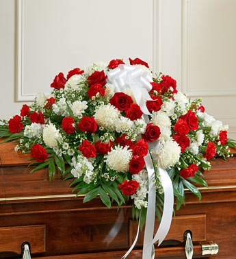 Red and White Sympathy Half Cover Casket