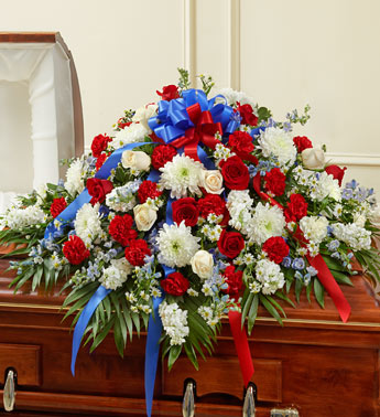 Red, White and Blue Sympathy Half Casket Cover