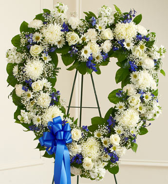 Blue and White Floral Heart Tribute - Click Image to Close