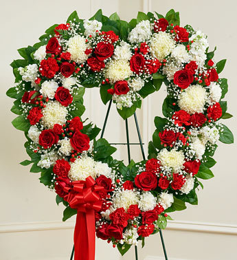 Red and White Sympathy Open Heart Standing Spray