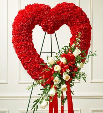 Red Sympathy OPen Heart Standing Spray with White Roses