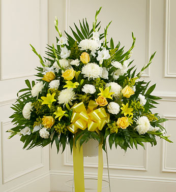 Yellow Sympathy Standing Basket - Click Image to Close