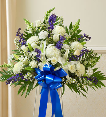 Blue and White Sympathy Standing Basket - Click Image to Close