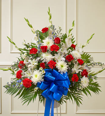 Red, White and Blue Sympathy Standing Basket