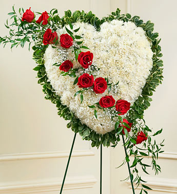 Red and White Sympathy Floral Standing Heart