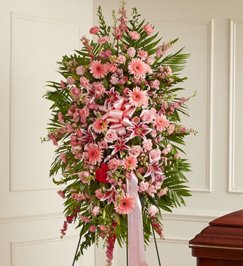 Pink Sympathy Standing Spray - Click Image to Close