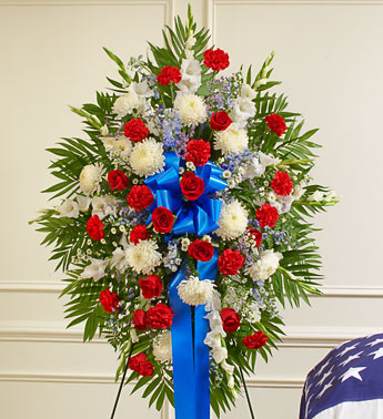 Red, White and Blue Sympathy Standing Spray - Click Image to Close