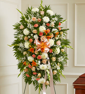 Peach, Orange And White Standing Spray - Click Image to Close