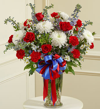 Red, White and Blue Sympathy Arrangement
