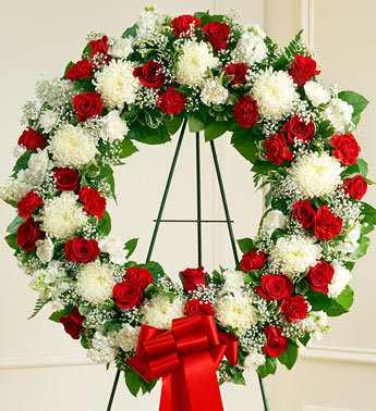 Red and White Sympathy Standing Wreath