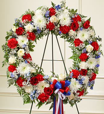Red, White and Blue Sympathy Wreath
