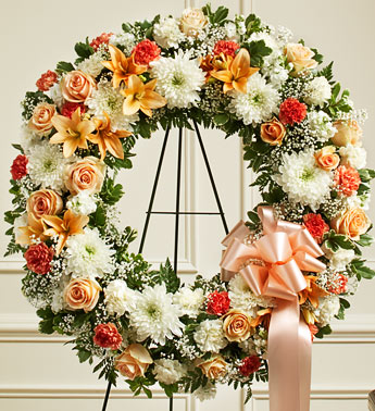 Peach,Orange And White Standing Wreath - Click Image to Close