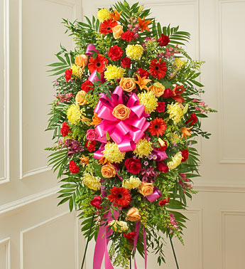 Bright Sympathy Standing Spray - Click Image to Close