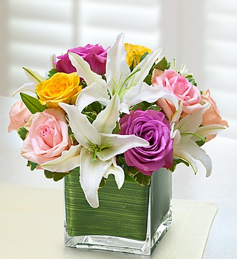 Modern Embrace Pastel Rose and Lily Cube - Click Image to Close