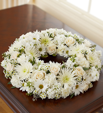 White Cremation Wreath - Click Image to Close