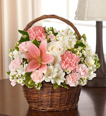 Pink & White Blessings Basket - Click Image to Close