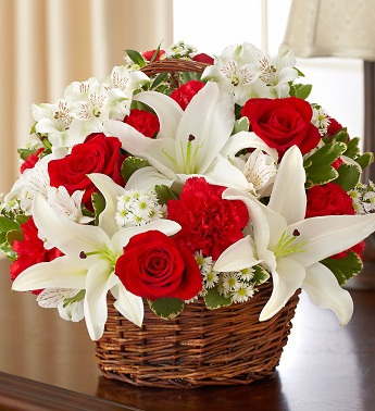 Red and White Sympathy Basket - Click Image to Close