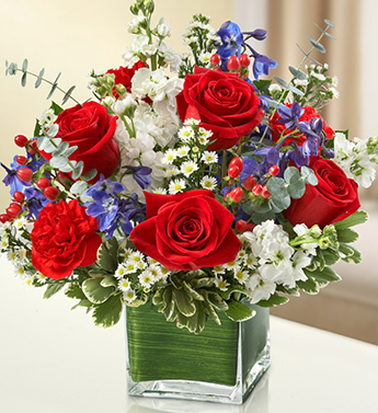 Red, White and Blue Simplicity Bouquet - Click Image to Close