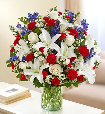 Red, White and Blue Sincerest Sorrow Arrangement - Click Image to Close
