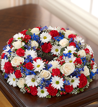 Red, White and Blue Cremation Wreath - Click Image to Close