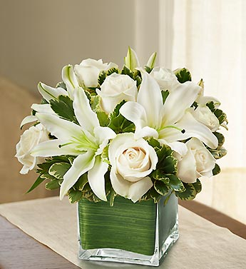 Modern Embrace White Rose And Lily Cube - Click Image to Close