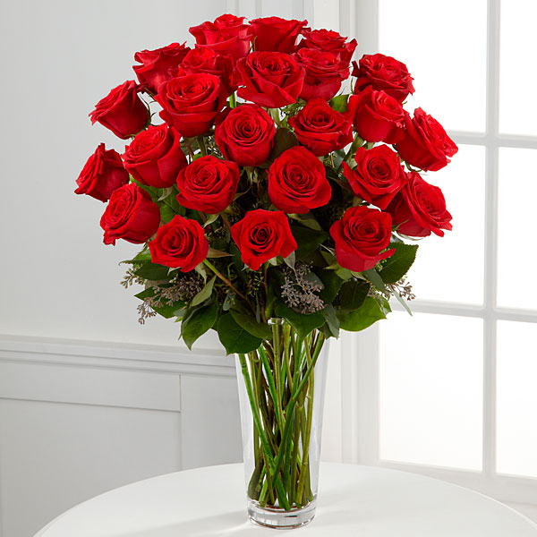 red roses bouquet larger image - Red Garden Rose Bouquet