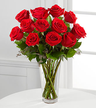 12 Red Roses - 1 Dozen Rose Bouquet - Click Image to Close