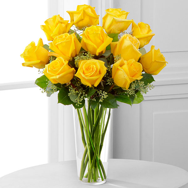 Yellow Rose Bouquet - 1 Dozen - Click Image to Close