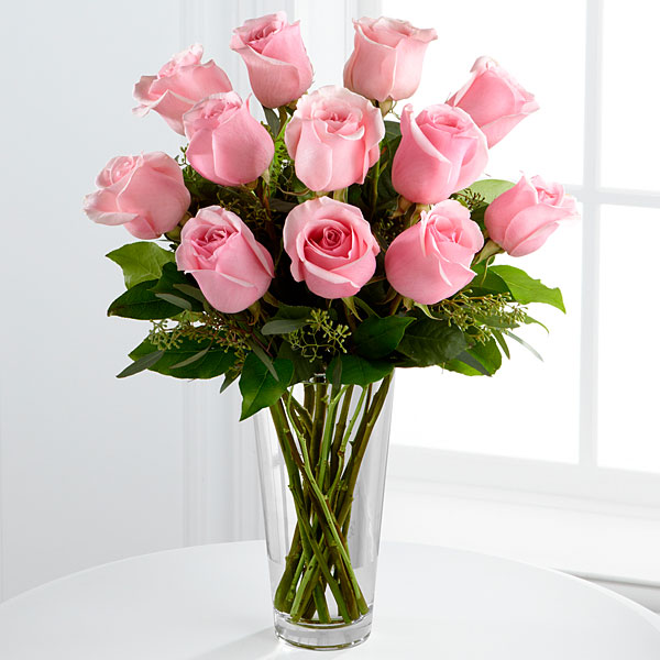 Pink Roses Bouquet - 1 Dozen - Click Image to Close