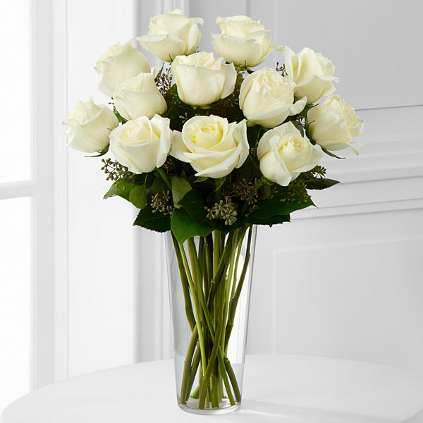 White Rose Bouquet - 1 Dozen - Click Image to Close