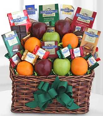 Ghirardelli And Fruit Festival Basket - Click Image to Close