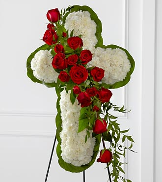 Floral Cross Easel - Click Image to Close