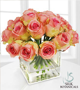 Pink Rose Buds in Square Glass Vase - Click Image to Close
