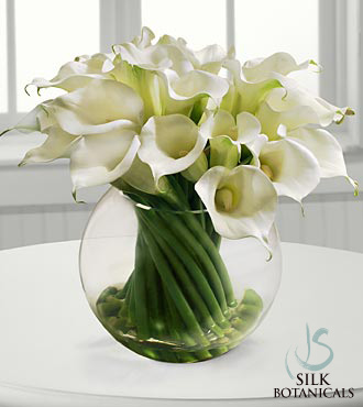 Calla Lilies In Glass Bubble Bowl Vase Royal Fleur Florist