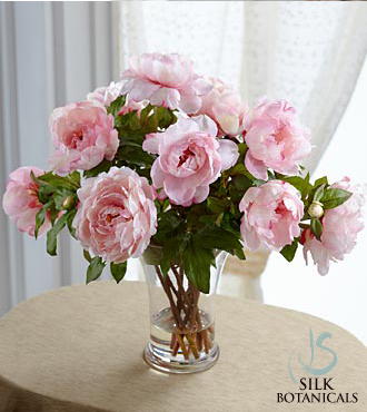 Pink Peonies in Glass Vase - Click Image to Close